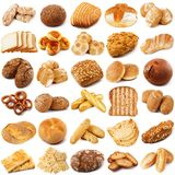 Bread collage on white background. Fresh bread collage on white background Royalty Free Stock Images