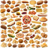 Bread collage on white background. Fresh bread collage on white background Royalty Free Stock Photography