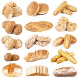 Bread collage on white background. Fresh bread collage on white background Stock Image