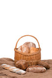 Fresh bread. Composition with bread and rolls isolated on white Royalty Free Stock Image