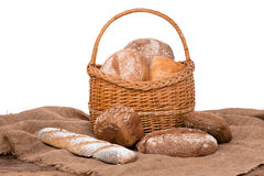Fresh bread. Composition with bread and rolls isolated on white Stock Images