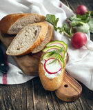 Fresh bread with Cottage cheese, radish and cucumber Stock Image