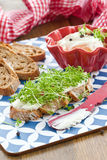 Fresh bread with cream cheese Stock Photography