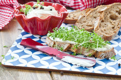 Fresh bread with cream cheese Royalty Free Stock Photo