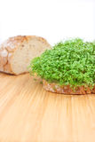 Fresh bread with cress Royalty Free Stock Photography