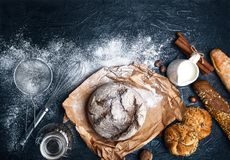 Fresh bread with crispy crust on parchment Stock Images