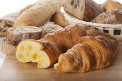 Fresh bread and croissants Stock Image
