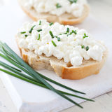 Fresh bread with curd Stock Photo