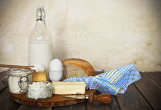 Fresh bread and dairy products Stock Images