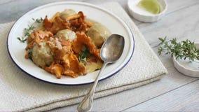 Fresh Bread dumplings with chanterelles stock video