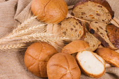 Fresh bread with ear of wheat Royalty Free Stock Image