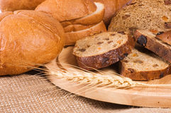 Fresh bread with ear of wheat Stock Images