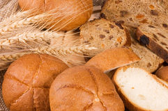 Fresh bread with ear of wheat Royalty Free Stock Images