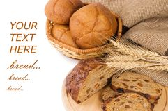 Fresh bread with ear of wheat Royalty Free Stock Photography
