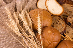 Fresh bread with ear of wheat Stock Photos