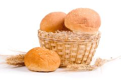 Fresh bread with ears of wheat Royalty Free Stock Photo