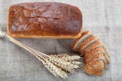 Fresh bread with ears of wheat. Fresh bread with ears of wheat on the canvas Royalty Free Stock Photos