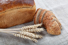 Fresh bread with ears of wheat. Fresh bread with ears of wheat on the canvas Stock Images