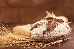 Fresh bread. With ears of wheat Stock Photography