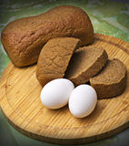 Fresh bread with eggs Stock Photo