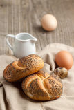 Fresh bread and eggs Royalty Free Stock Photos