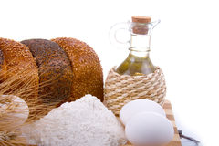 Fresh Bread, Eggs, Flour And Oil Royalty Free Stock Photo