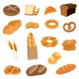 Fresh Bread Flat Icons Set Stock Photo