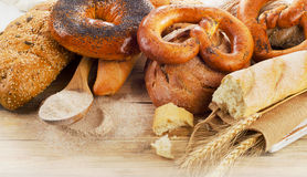 Fresh bread and flour Royalty Free Stock Photography