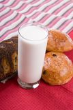 Fresh bread with glass of milk Royalty Free Stock Photography