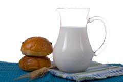 Fresh bread with glass of milk Royalty Free Stock Images