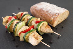 Fresh bread with grilled shashlik Stock Photos