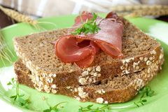 Fresh bread with ham Royalty Free Stock Photos