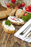 Fresh bread with herb curd dinner Stock Photo