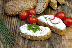Fresh bread with herb curd dinner Royalty Free Stock Image