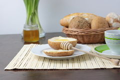 Fresh bread With Honey. Cup of cofee And Green Apples Stock Image