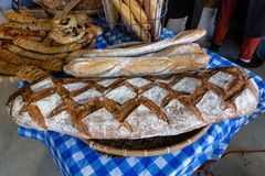 Fresh bread loaves sold at the market royalty free stock photos