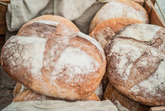 Fresh bread loaves. Whole fresh white bread loaves stock photography
