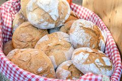 Fresh bread in the food basket. royalty free stock photo