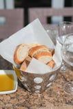 Fresh bread in metal basket Stock Image