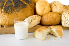 The fresh bread and the milk Stock Photography