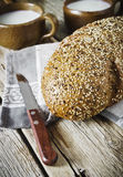 Fresh bread and milk Royalty Free Stock Photography