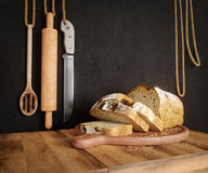 Fresh bread with oat sliced on a slate cutting board photo background copy space Stock Photography