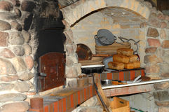 Fresh bread in old bakery stock photo