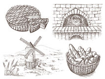 Fresh bread and a oven windmill royalty free illustration