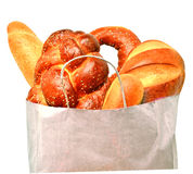 Fresh bread in the paper bag Stock Image