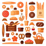 Fresh bread and pastries in flat style. Various assortment of bakery. Isolated icons set. Illustration of bun, croissant, pie, cake, loaf and french baguette royalty free illustration