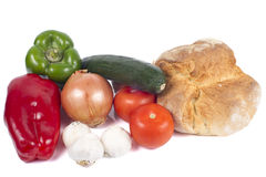 Bred and Vegetables Isolated on White. Stock Images