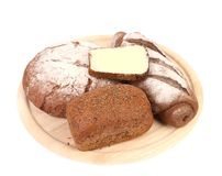 Fresh bread on platter. Royalty Free Stock Images