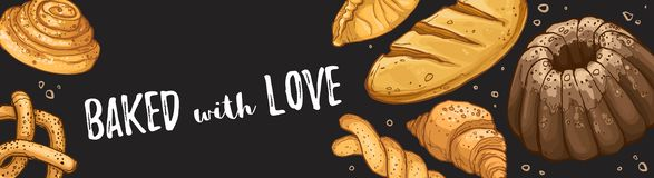 Fresh bread poster. Baked with love design. Horizontal poster composition from hand drawn bread. Vector illustration for bakery shops on blackboard. Fresh bread stock illustration