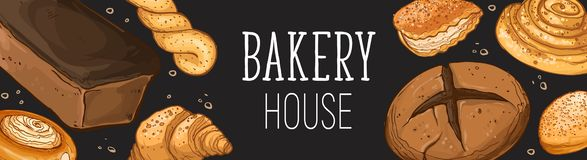 Fresh bread poster. Bakery house design. Horizontal poster composition from hand drawn bread. Vector illustration for bakery shops on blackboard. Fresh bread stock illustration